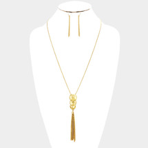 Triple Hammered Metal Disc Drop Chain Tassel Necklace/Earrings *Limited Edition