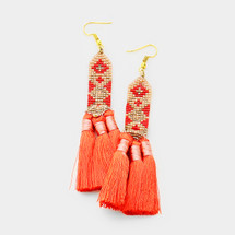 Beaded Triple Tassel Earrings *Limited Edition*