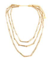 Valleta Triple Chain Necklace - Gold