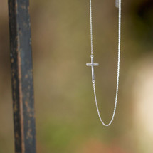 Off Center Cross Necklace - Sterling Silver
