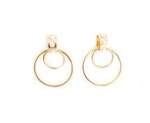 Pearled Double Hoop Earrings