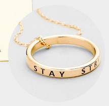 Stay Strong Necklace - Rose Gold