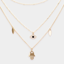 Layered Hamsa Evil Eye Necklace