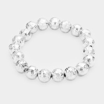 Textured Silver Beads Bracelet