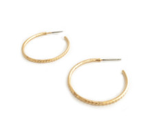 Classic Textured Hoops - Gold