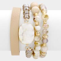 Druzy Multi Strand Bracelet Set