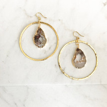 Druzy Geode Hammered Hoop Earrings: Gold Or Silver
