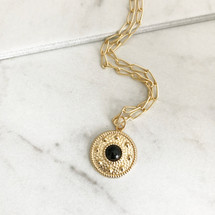 Lucca Medallion Necklace - Onyx Stone