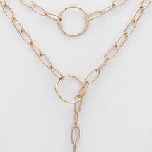 Hammered Circles Drop Chain Necklace