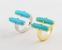 Turquoise Bars Ring - Gold Or Silver