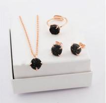 Jet Druzy Jewelry Set
