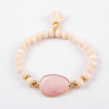 Rose Quartz Tassel Bracelet