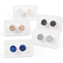 NEW! Earth Child Silver Druzy Stud Earrings (also in black)