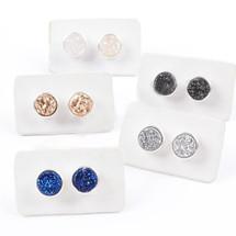 NEW! Earth Child Silver Druzy Stud Earrings (also in black)