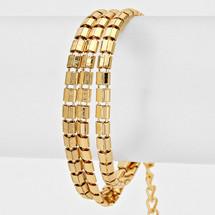 Triple Layer Bracelet: Gold Or Silver