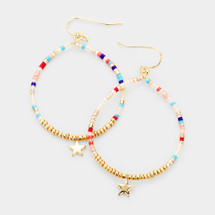 Tiny Stars Beaded Hoops