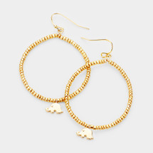 Tiny Elephant Beaded Hoops