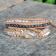 Quartz Arrowhead Leather Wrap Bracelet