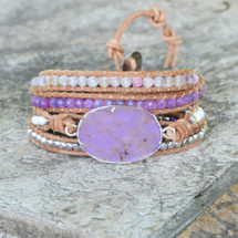 Lilac Dreams Leather Wrap Bracelet