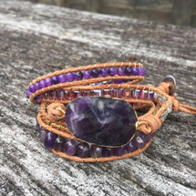Fields Of Lavender Amethyst Leather Wrap Bracelet