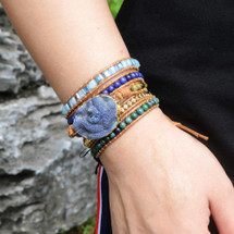 All The Blues Druzy Leather Wrap Bracelet