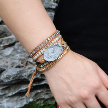 Eventide Druzy Leather Wrap Bracelet