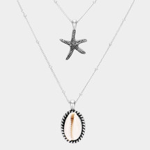 Starfish & Shell Layered Necklace: Gold Or Silver
