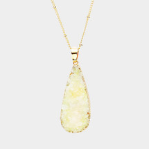 Druzy Teardrop Long Necklace