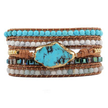 Turquoise For Days Leather Wrap Bracelet