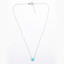 Turquoise Sterling Silver Round Bezel Necklace