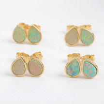 White Opal Teardrop Stud Earrings