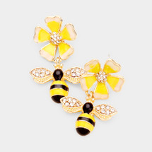 Honey Bee Dangle Earrings: Gold Or Silver