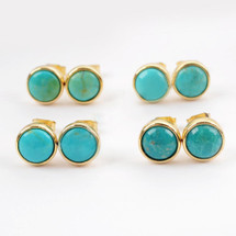 Turquoise Blues Round Stud Earrings