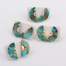 Turquoise Half Circle Studs: Gold or Silver