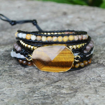 Tiger Eyes Leather Wrap Bracelet