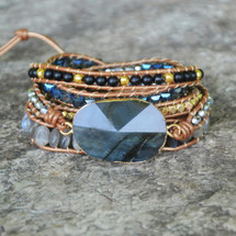 Stormy Blues Leather Wrap Bracelet
