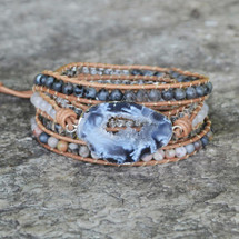 Denim Druzy Wrap Bracelet