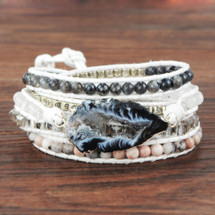 White & Black Onyx Leather Wrap Bracelet