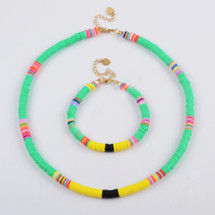 Tulum Beaded Necklace/Bracelet Set - Green