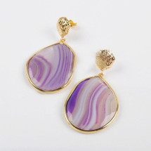 Amethyst Daydreams Agate Earrings: Gold Or Silver