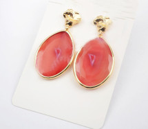 Druzy Slice Agate Earrings: Peachy Pink