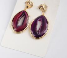 Druzy Slice Agate Earrings: Purple