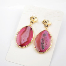 Druzy Slice Agate Earrings: Pink