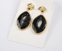 Druzy Slice Agate Earrings: Black
