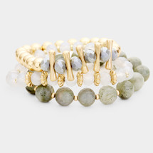 Shades Of Gray Semi-Precious Bracelet Set