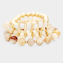 Shades of Neutral Semi Precious Stone Bracelet Set