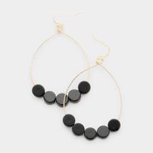 Black Circles Teardrop Earrings