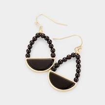 Onyx Half Circle Earrings