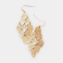 Leaf Metal Cluster Earrings: Gold Or Silver