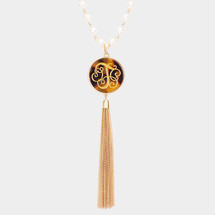 Monogram Pearl Tassel Long Necklace: Gold